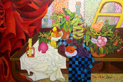 Still Life With Checkboard Tablecloth and Flowing Red Curtain by James Homer Brown