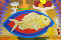 Geometric Abstract - Fish, Fork and Fruit painting For Sale