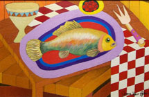 Fish and Checkerboard Tablecloth - Still Life Painting by James Homer Brown